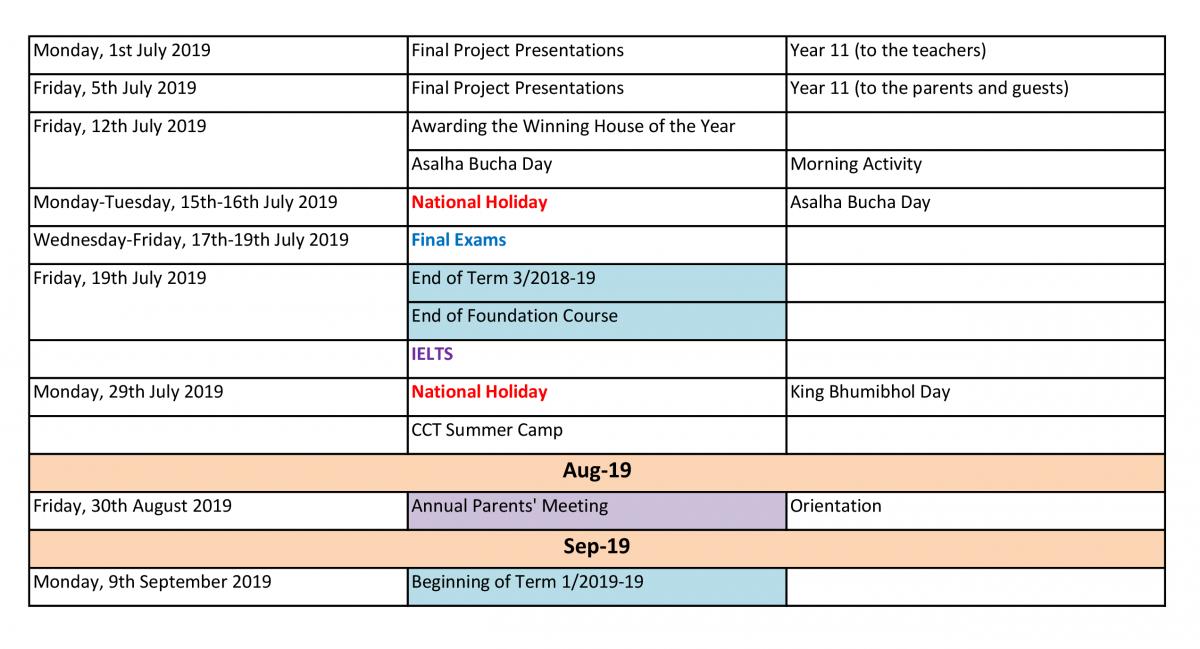 cct calendar 2018 19