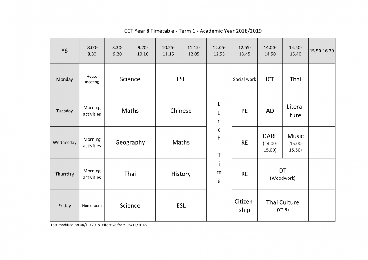 igcse subjects, timetable