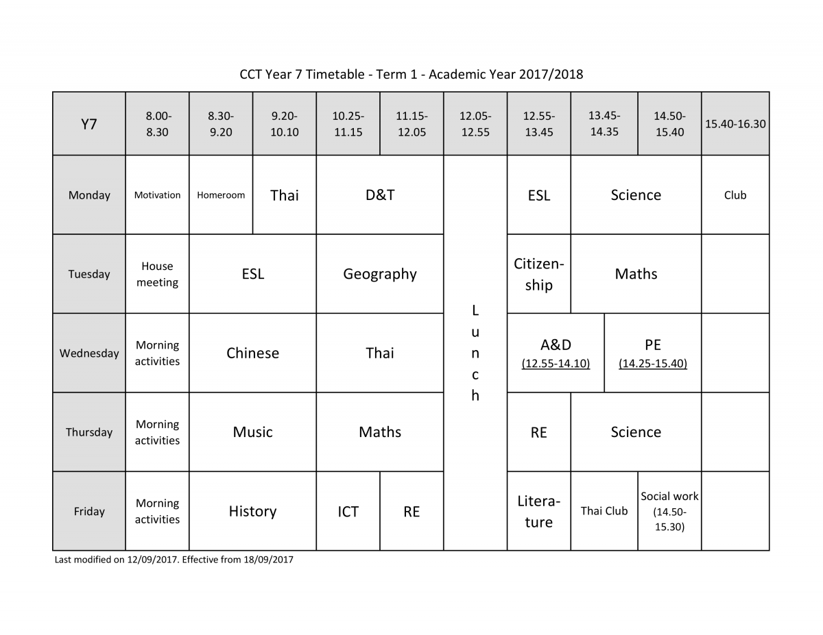 ks3 subjects, timetable